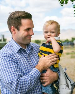 Nevada Homeland Security Advisor Caleb Cage and his son Arlo.