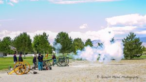 Three Civil War cannons delivered a volley of shots during the ceremony.