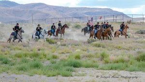 The charge of the 1st Nevada Volunteer Calvary Civil War re-enactors.