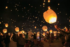 Joseph Maino, The Fernley Reporter Lanterns float into the night sky after being released at the Lantern Fest at 95A Speedway in Fernley Saturday night.