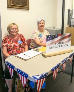 Joseph Maino, The Fernley Reporter Diana Harper and Kay Stone manned today's voter's registration table at the Fernley library.