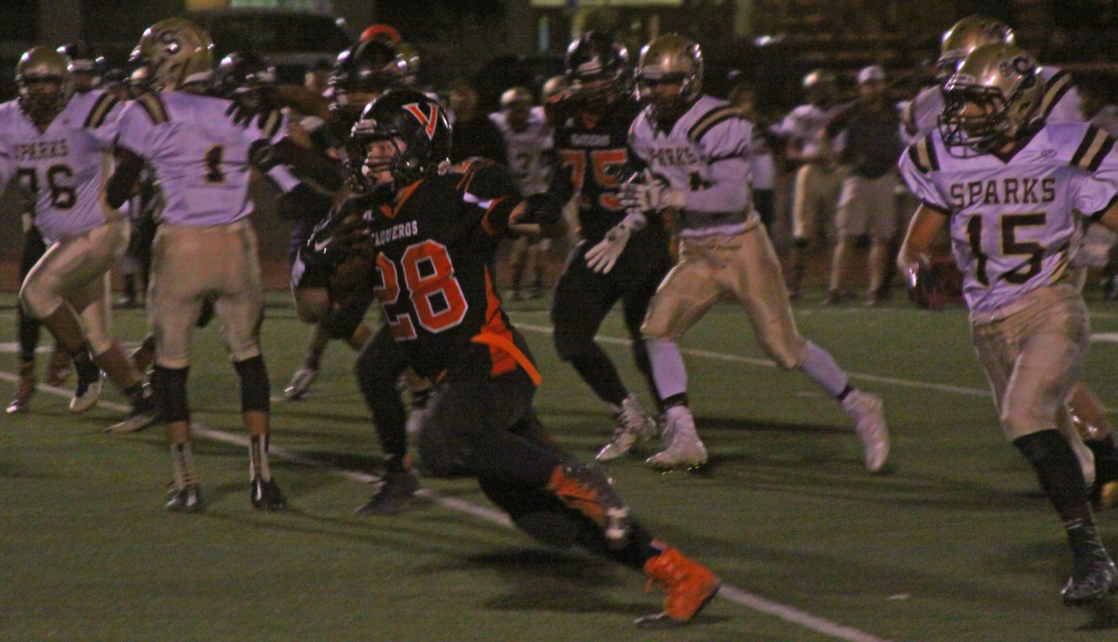 Robert Perea, The Fernley Reporter Fernley's Willy Pritchard breaks loose for a long run Friday night against Sparks.