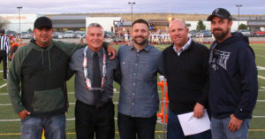 Robert Perea, The Fernley Reporter From left, Boomer Taylen, Ross Wilson, Ryan Wilson, Chris Reed and John Taylen were inducted into the Fernley High School Hall of Fame.