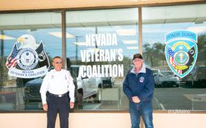 Bret Palmer and Jan Hodges outside the new Nevada Veteran's Coalition Main Street office.