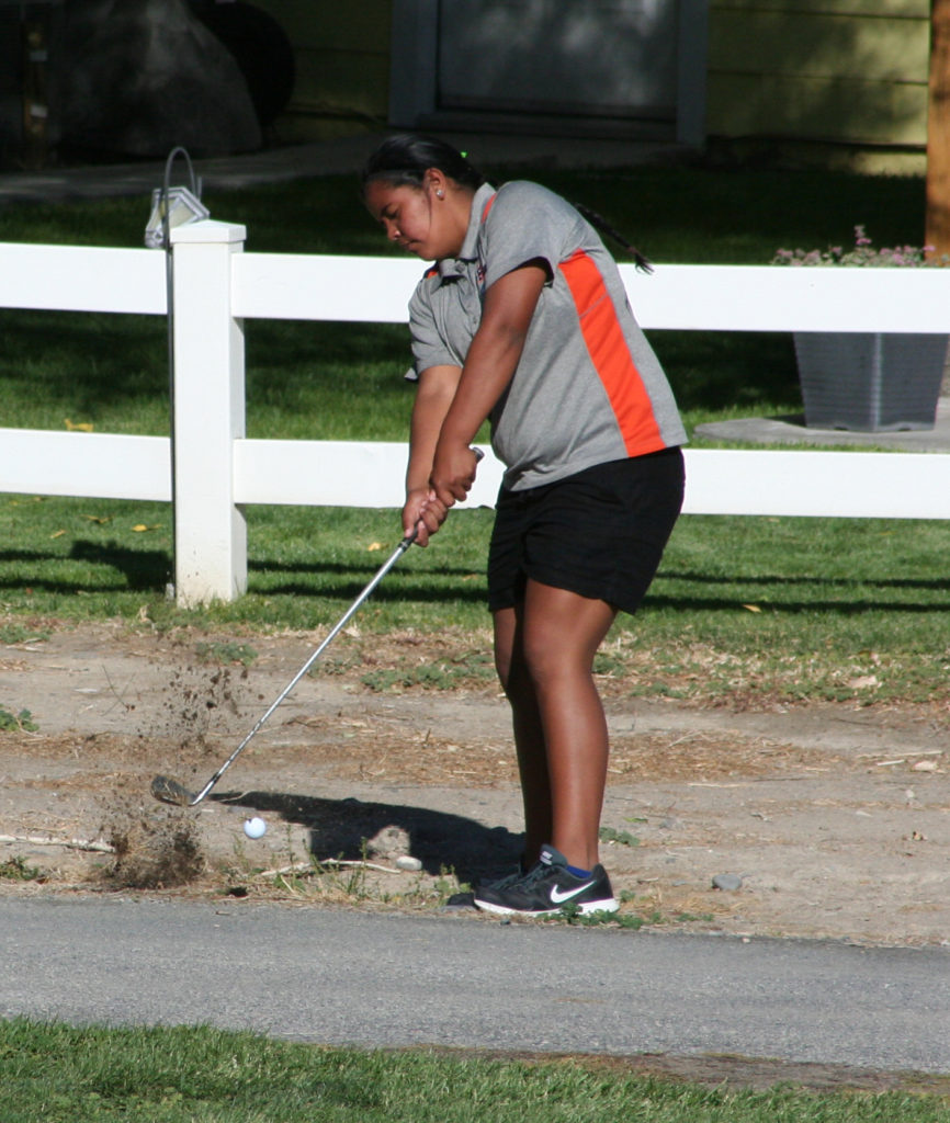 Robert Perea, The Fernley Reporter Olivia Victor chips back onto the fairway during Tuesday's meet in Fernley.