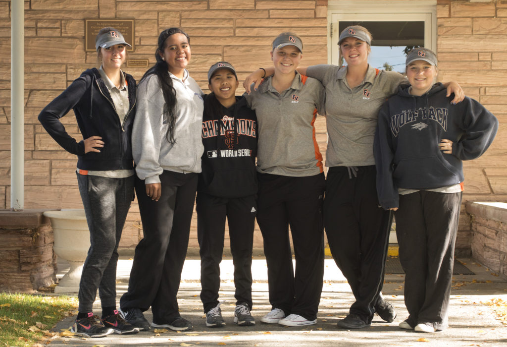 Michael Michaelsen, For the Fernley Reporter From left, Fernley High School golfers Megan Thompson, Olivia Victor, Sarah Miller, Jenna Kollar, McKenna Montgomery and Maya Fisher pose for a photo at the meet in Winnemucca Oct. 6.